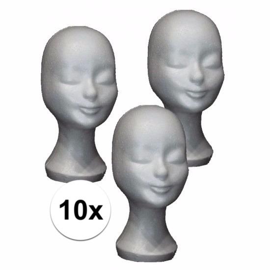 10 witte paspop hoofden van piepschuim
