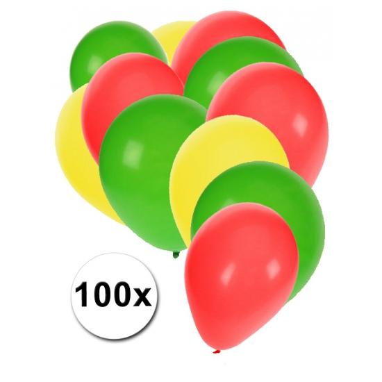 Geel rood groen party ballonnen