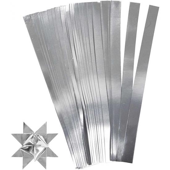 100 Papieren stroken zilver 45 cm