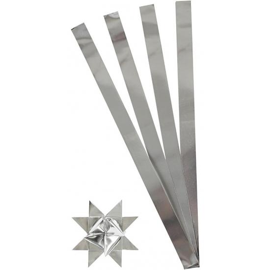 100 Papieren stroken zilver 73 cm
