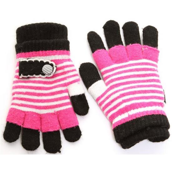 2 in 1 kinder handschoenen fuchsia zwart