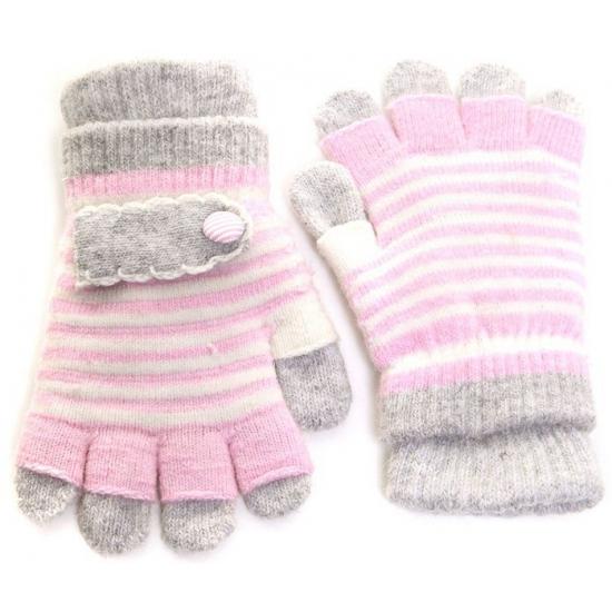 2 in 1 kinder handschoenen lichtroze/grijs