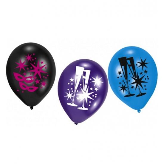 Ballonnen met feestelijke opdruk 6 stuks