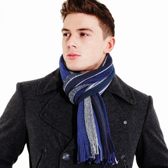 Beechfield sjaal blauw/grijs