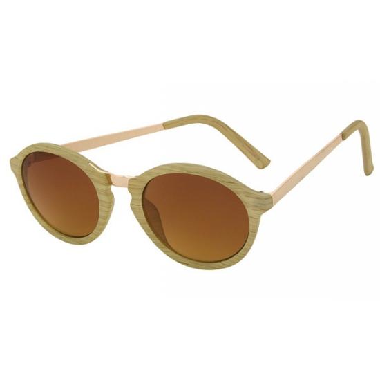 Beige ronde zonnebril