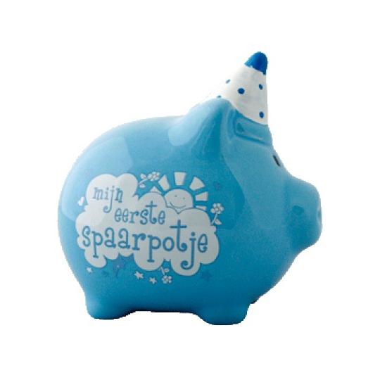 Blauw spaarvarken Eerste spaarpotje