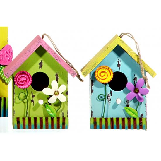 Blauw vogelhuis van hout met bloem 16 cm