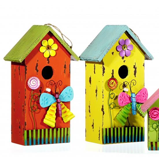 Blauw vogelhuisje van hout met vlinder 30 cm
