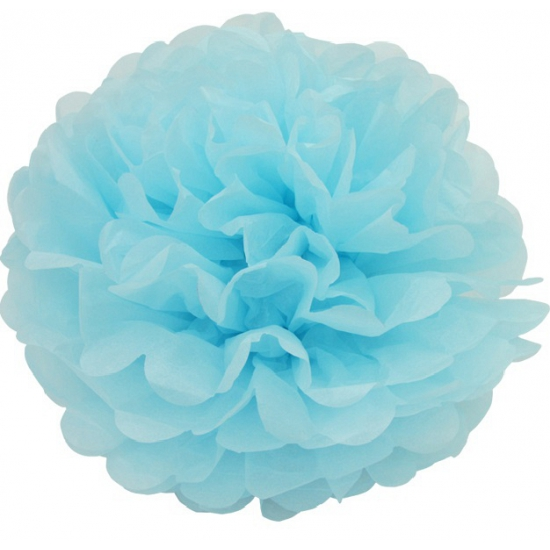 Blauwe decoratie pompom 25 cm