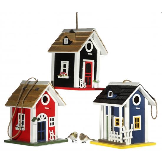 Blauwe houten vogelhuisjes 25 cm