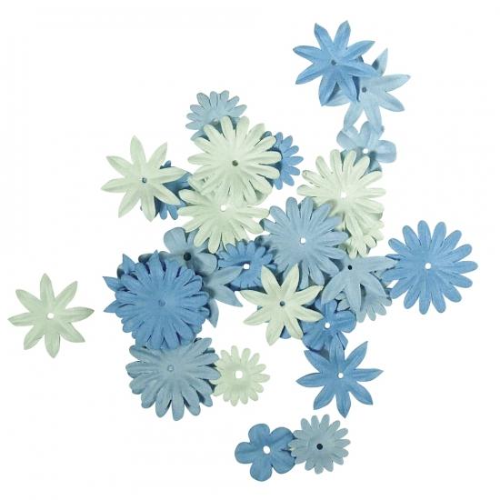 Blauwe knutsel bloemen van papier