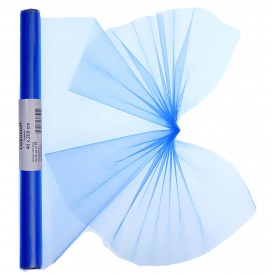 Blauwe organza op rol 40 x 200 cm