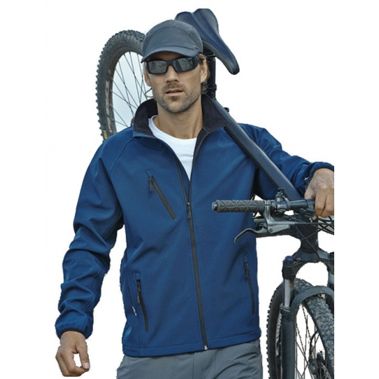 Blauwe softshell jas voor heren