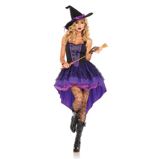 Broomstick babe heksen kostuum paars