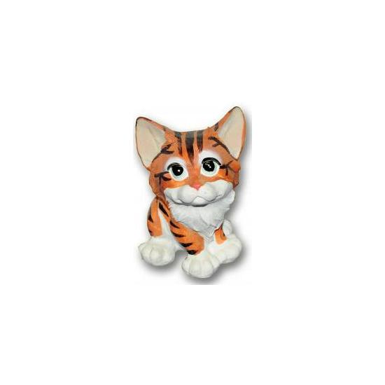 Bruine kat zittend van polystone 13 cm