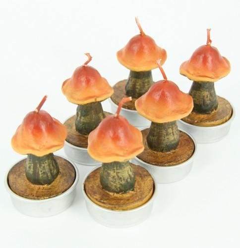 Bruine paddenstoel theelichtjes