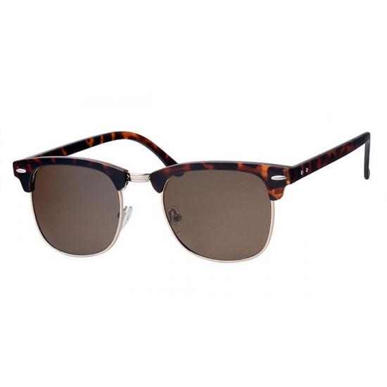 Bruine zonnebril Clubmaster met bruine glazen