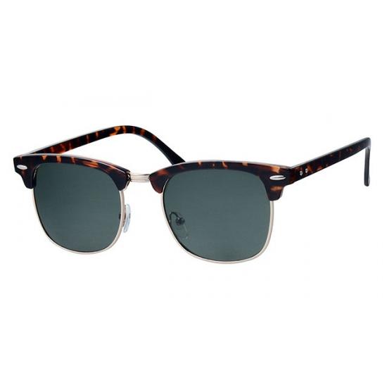 Bruine zonnebril Clubmaster met groene glazen