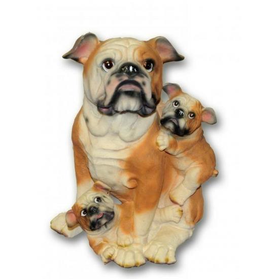Bulldog met puppies zittend van polystone 35 cm