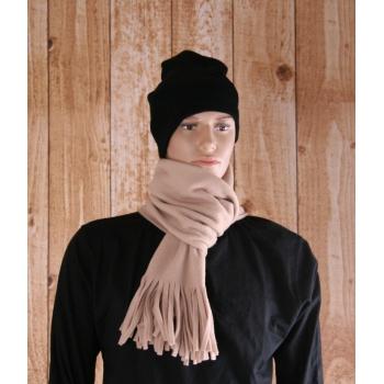 Camel fleece sjaal met franjes