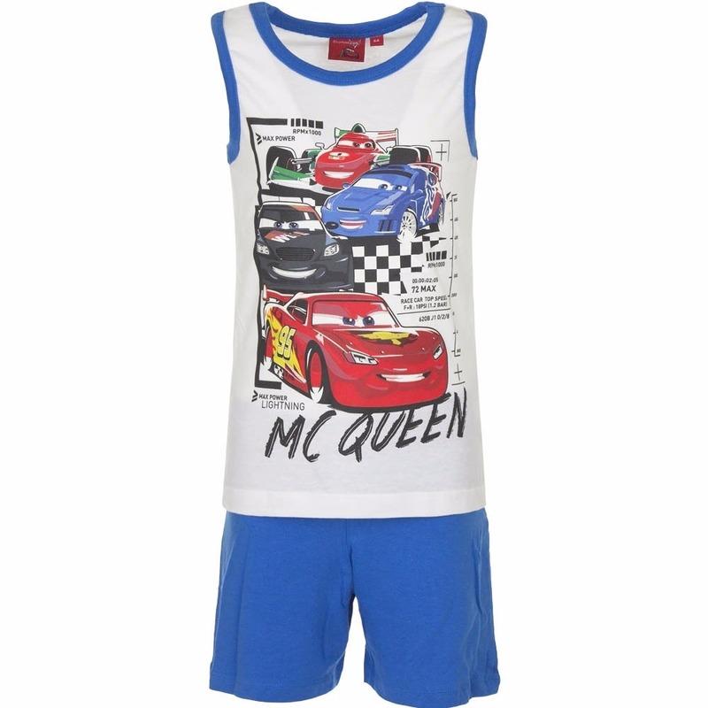Cars korte pyjama wit met blauw