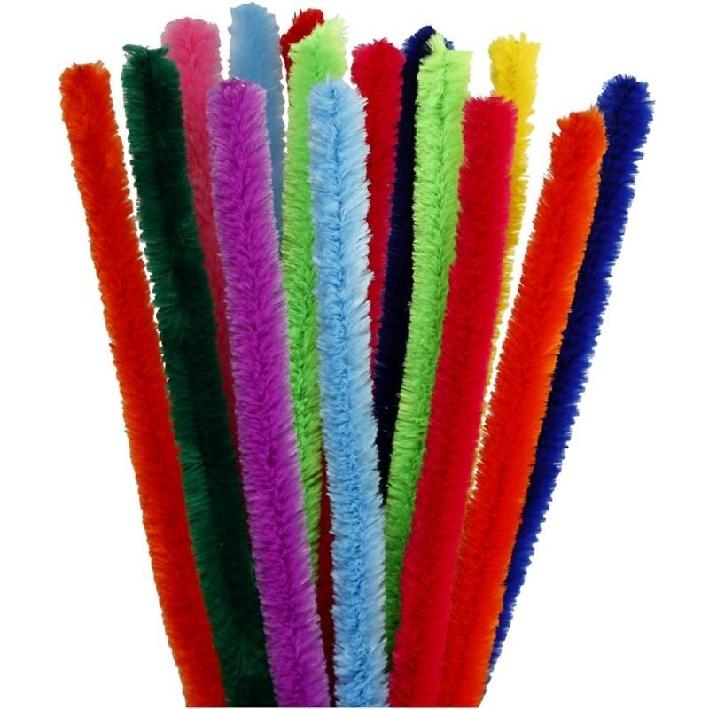Chenilledraad kleuren 30 cm 15 stuks