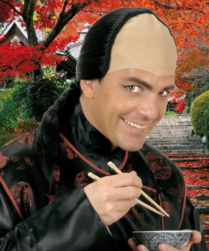 Chinese pruik met vlecht