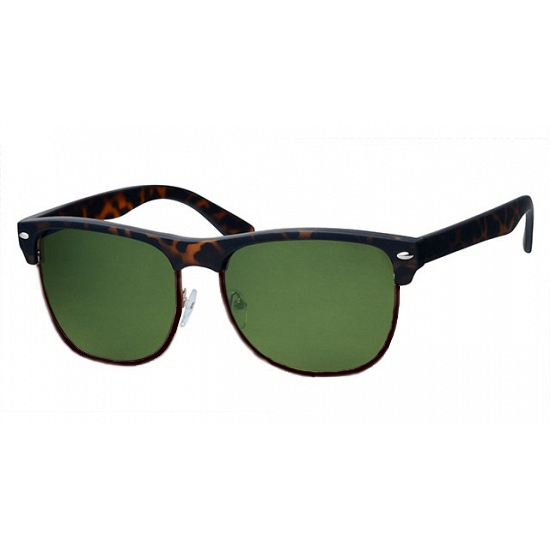 Clubmaster zonnebril bruin groene glazen