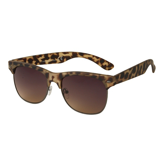 Clubmaster zonnebril mat bruin