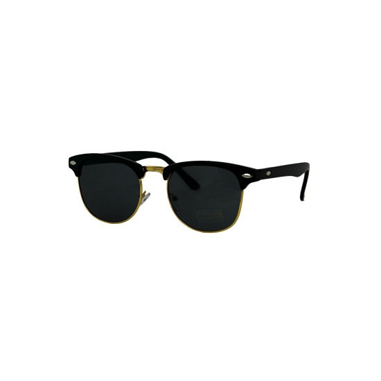 Clubmaster zonnebril matzwart en goud