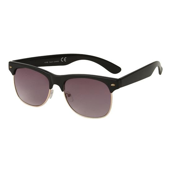 Clubmaster zonnebril zwart glans