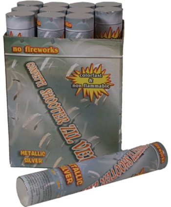 Confetti shooter 30 cm zilver