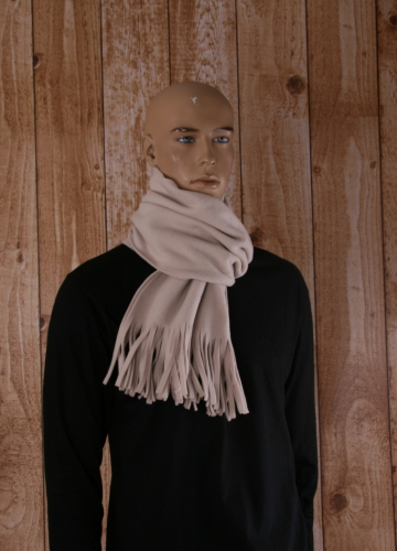 Creme sjaal met franjes