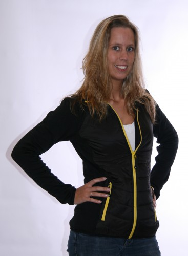 Dames hybride jas zwart met geel