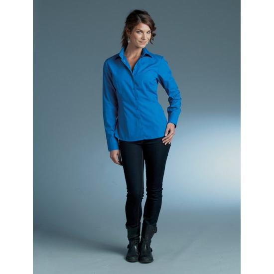 Dames overhemd kobalt blauw