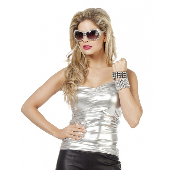 Dames stretch top zilver