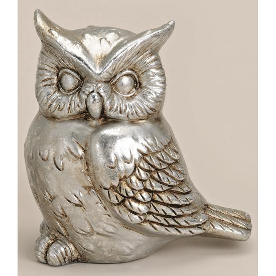 Decoratie uil zilver 16 cm model 2