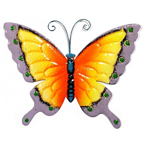 Decoratie vlinder geel/paars 30 cm