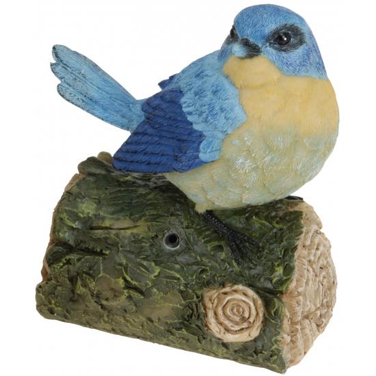 Decoratie vogeltjes met geluid blauw