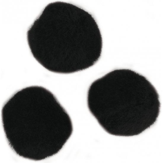 Decoratieve pompons 15 mm zwart