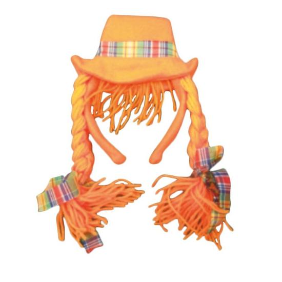 Diadeem met oranje hoed en vlechten