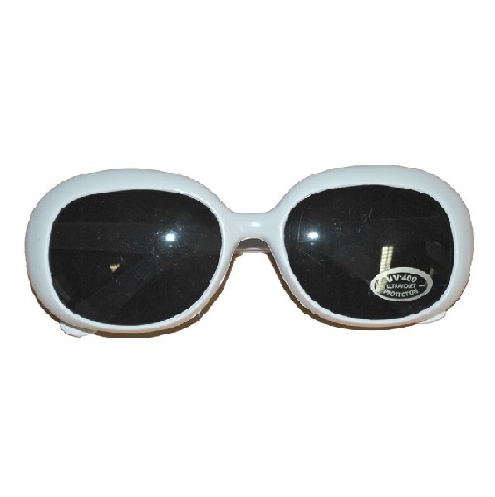Disco bril met breed wit montuur