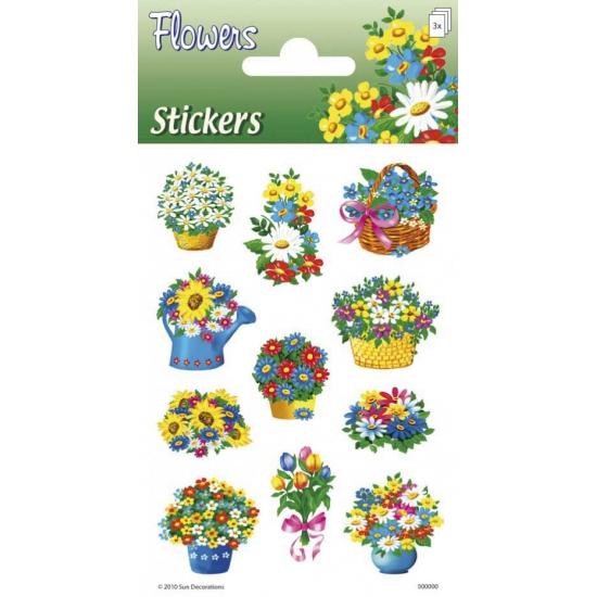 Drie stickervelletjes met bloemen