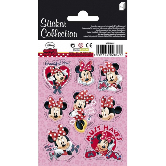 Drie vellen Minnie Mouse stickers