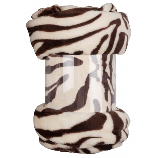 Fleece plaid bruine zebra