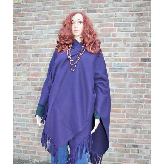 Fleece poncho donker paarse kleur