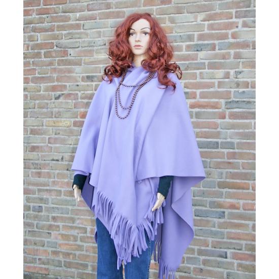 Fleece poncho lila kleur