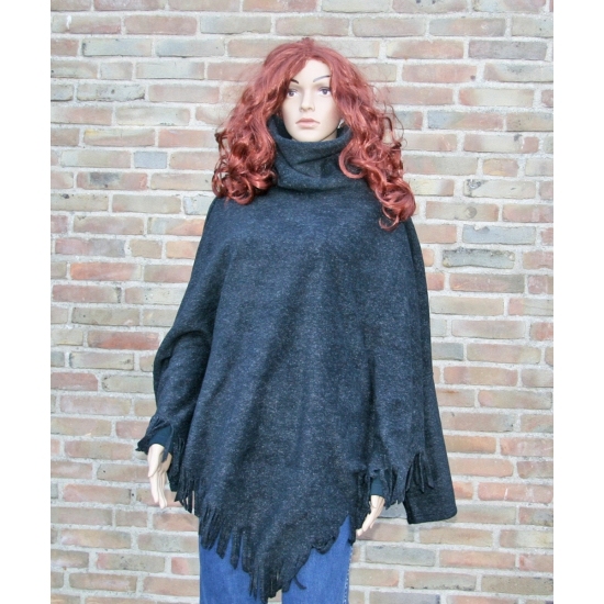 Fleece ponchotrui antraciet