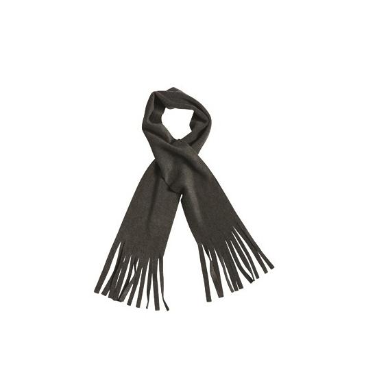 Fleece sjaal met franjes antraciet