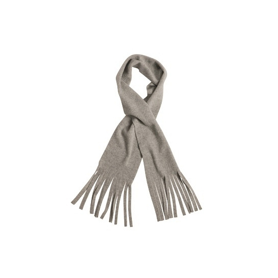 Fleece sjaal met franjes licht grijs